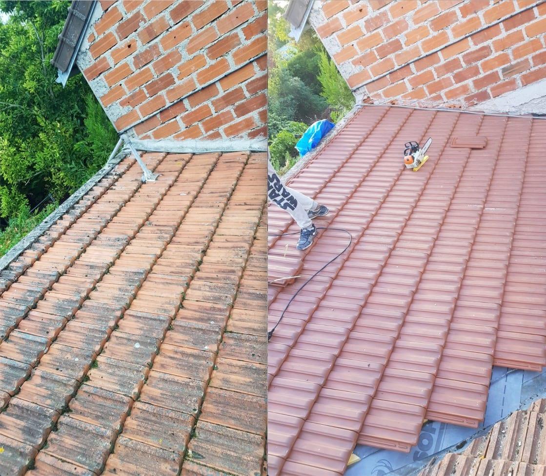 Rénovation toiture couvreur 93 - avant puis après